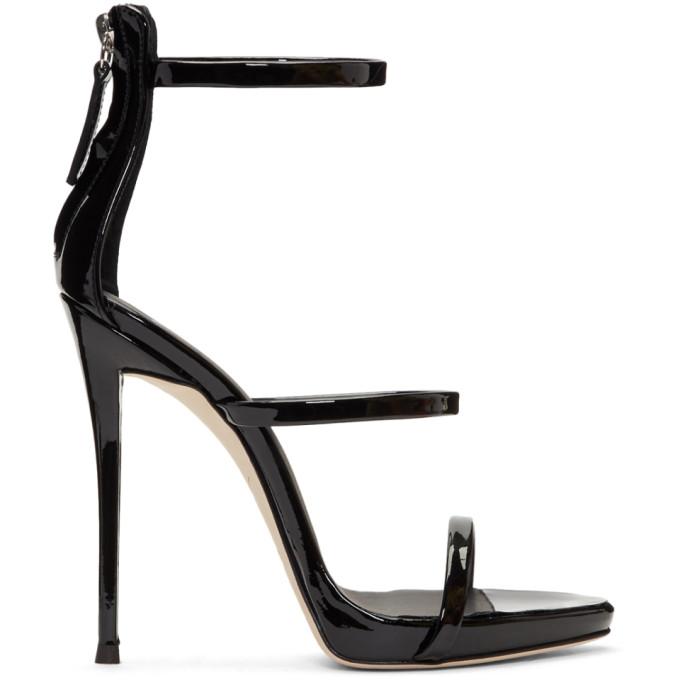 Image of Giuseppe Zanotti Black Coline Three-Strap Sandals