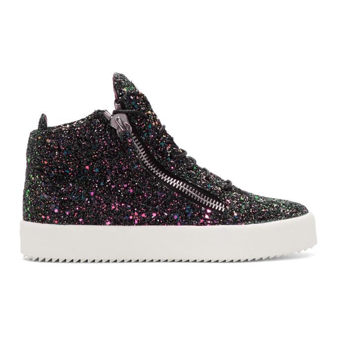 Giuseppe Zanotti Black Glitter May London High-Top Sneakers