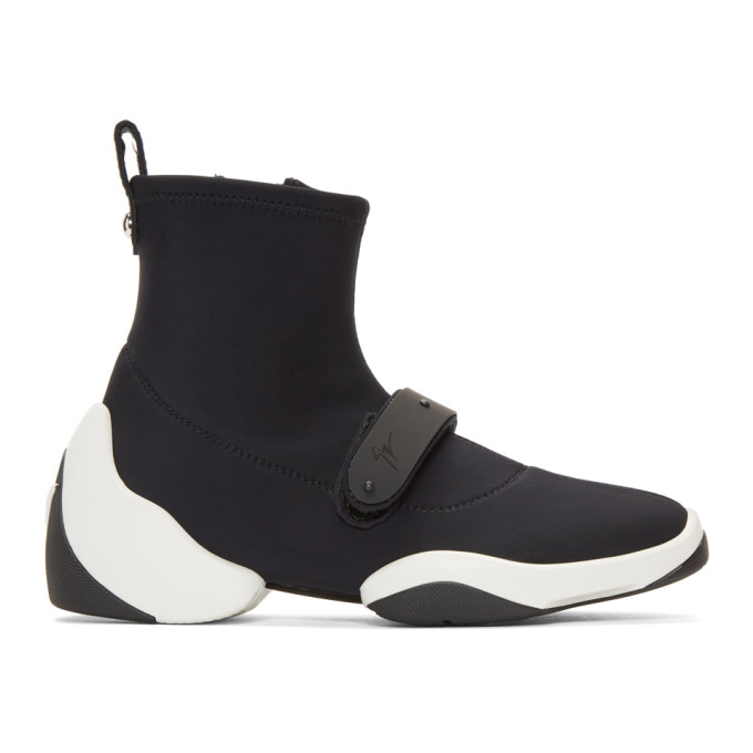 Image of Giuseppe Zanotti Black Carlito Stretch High-Top Sneakers