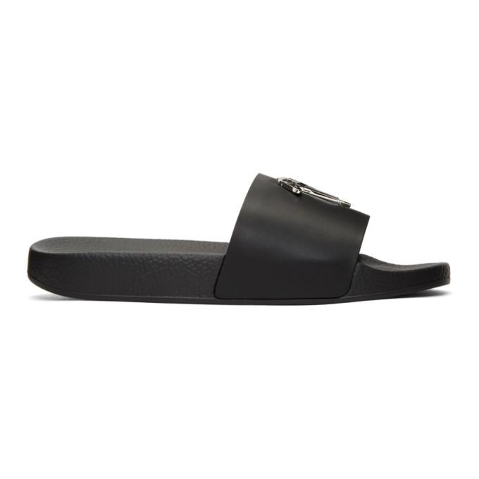 Image of Giuseppe Zanotti Black All Over Logo Burel Sandals