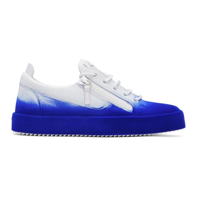 9514cc3b9727d Giuseppe Zanotti White and Blue Flashy May London Sneakers