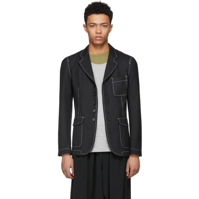 Image of Comme des Garçons Shirt Black Gabardine Workstitch Blazer