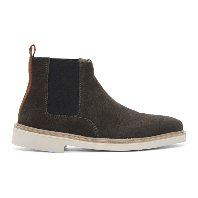 Image of H by Hudson Grey Suede Gallant Chelsea Boots