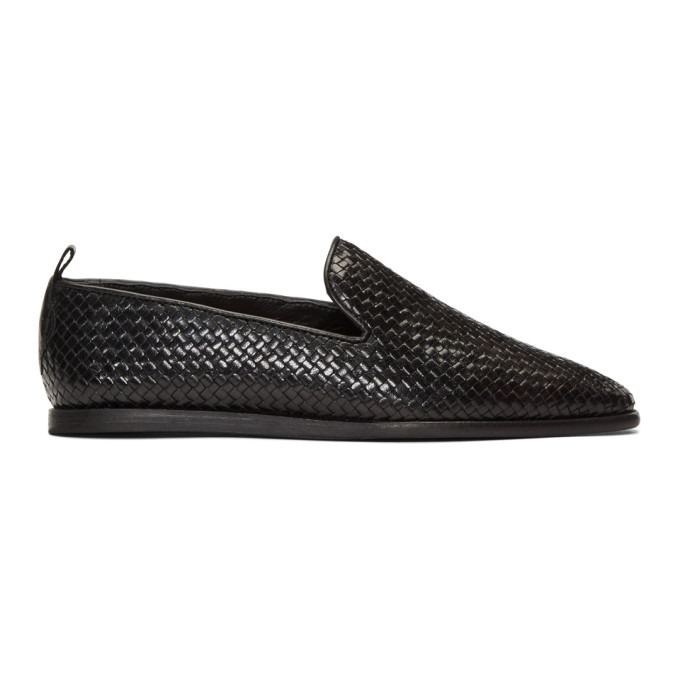 Image of H by Hudson Black Woven Ipanema Loafers