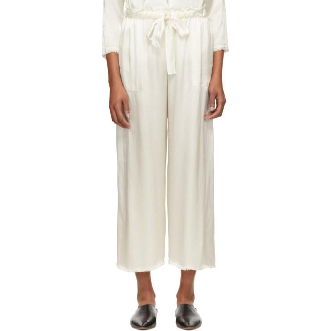 Raquel Allegra Pantalon de survêtement en satin ivoire Paper Bag