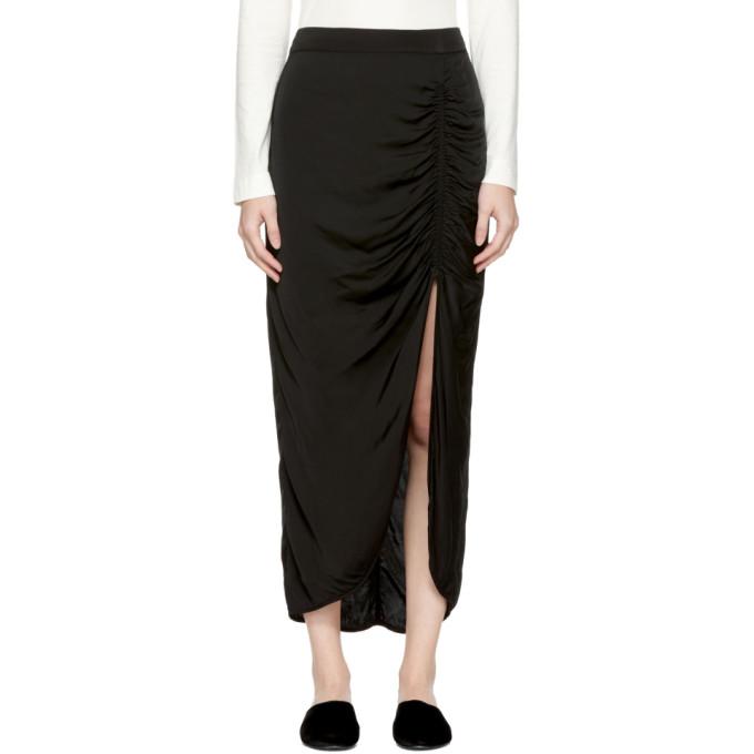 Image of Raquel Allegra Black Gathered Slit Skirt