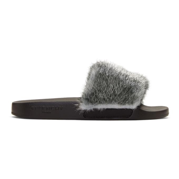 7d8dd9c98bf8 Givenchy Silver Mink Slides