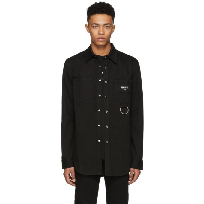 Givenchy ブラック ディストレス デニム シャツ