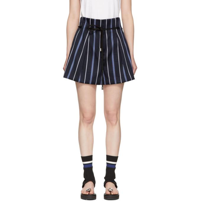31 Phillip Lim Blue Striped Jacquard Shorts