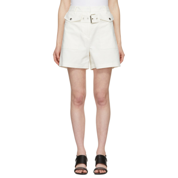 31 Phillip Lim White Belted Flap Pockets Shorts