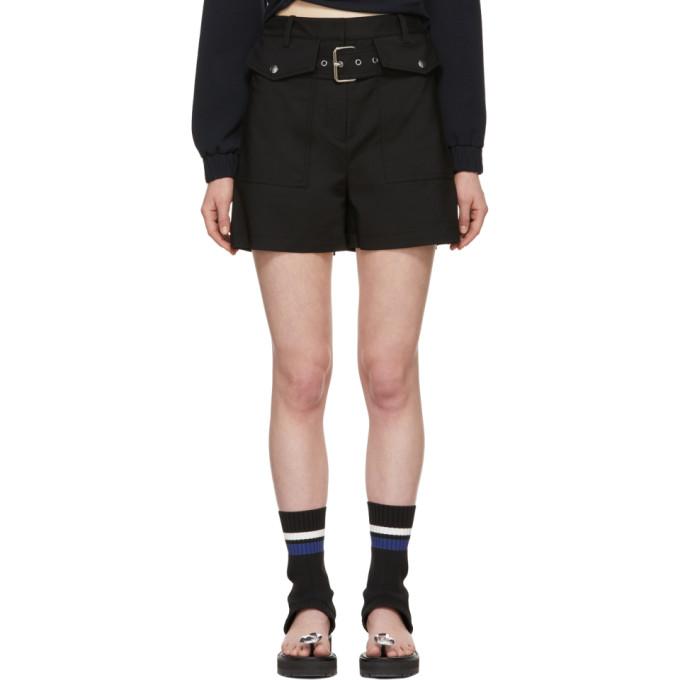 31 Phillip Lim Black Belted Flap Pockets Shorts