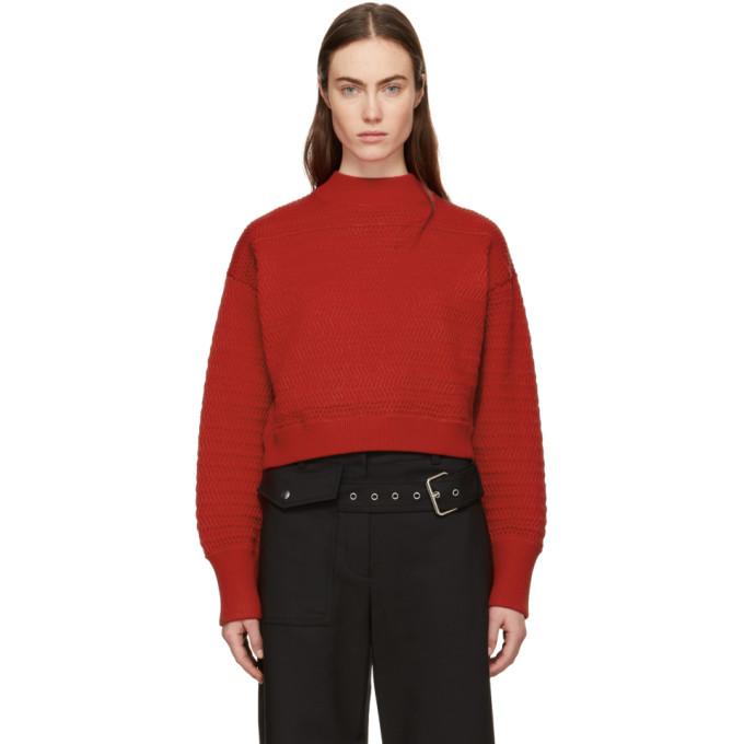 31 Phillip Lim Red Faux Plait Silk Cocoon Sweater