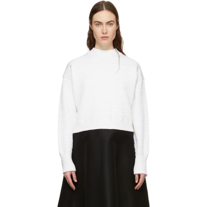 31 Phillip Lim White Faux Plait Silk Cocoon Sweater