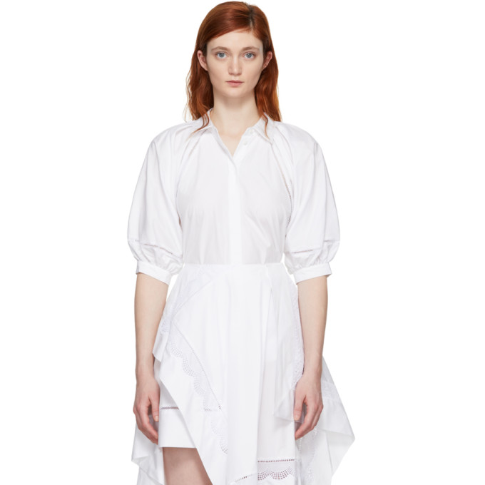 31 Phillip Lim White Full Sleeve Eyelet Blouse