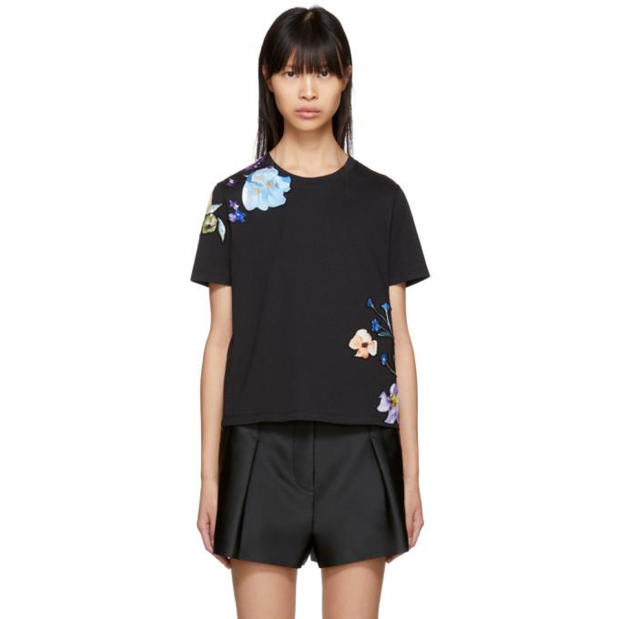 3.1 Phillip Lim Black Floral Appliqué T-Shirt