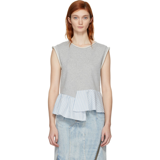 31 Phillip Lim Grey French Terry Combo Tank Top