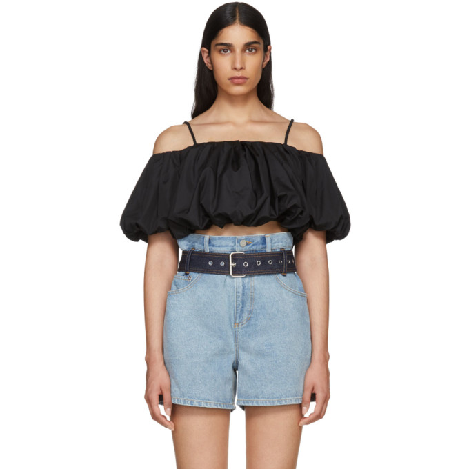 31 Phillip Lim Black Poplin Off The Shoulder Blouse