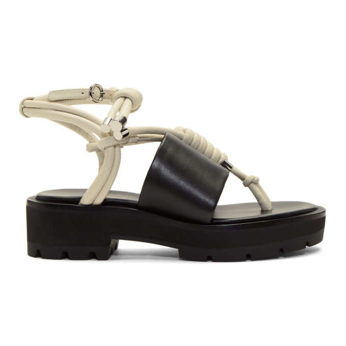 31 Phillip Lim Black and Ivory Strappy Lug Sole Sandals