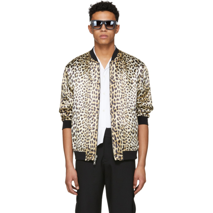 31 Phillip Lim Reversible Navy and Leopard Bomber Souvenir Jacket