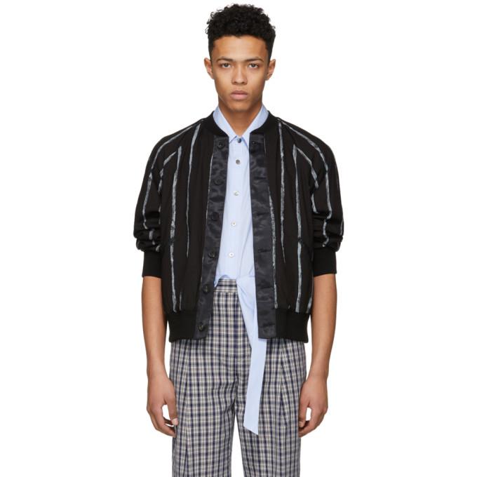31 Phillip Lim Black Painted Stripe Bomber Jacket