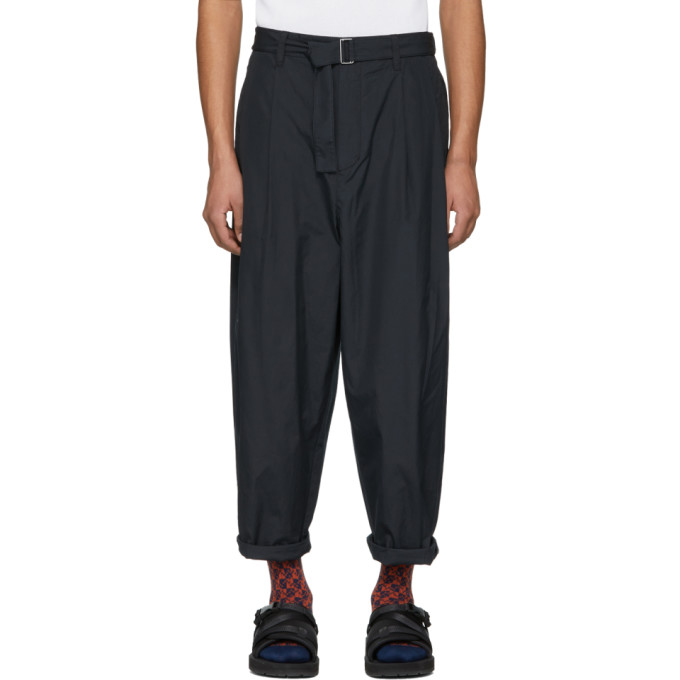 31 Phillip Lim Navy Relaxed Pleated Belt Trousers