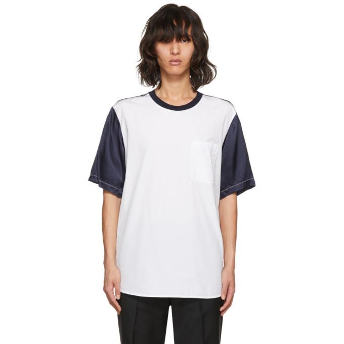 31 Phillip Lim White and Navy Classic Bifabric T Shirt