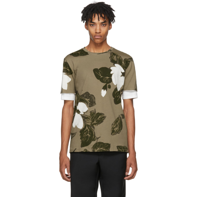 31 Phillip Lim Green Floral Double Sleeve T Shirt