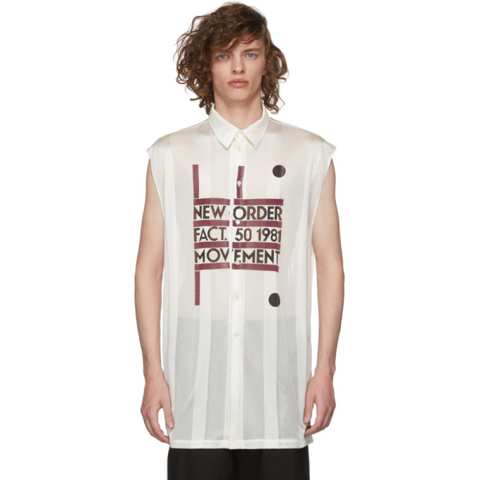 Image of Raf Simons Beige Sleeveless New Order Power, Corruption & Lies 'Movement' Shirt