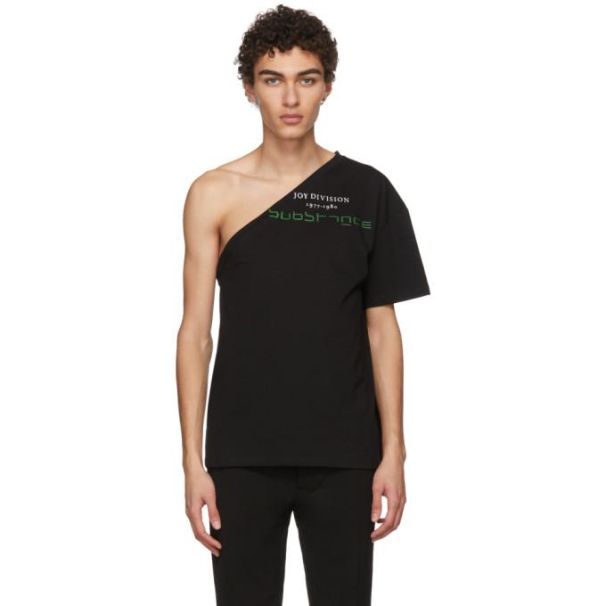 Image of Raf Simons Black Asymmetric Joy Division T-Shirt