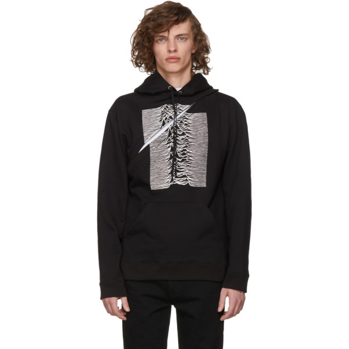 Image of Raf Simons Black Convertible Joy Division 'Unknown Pleasures' Two-Piece Hoodie