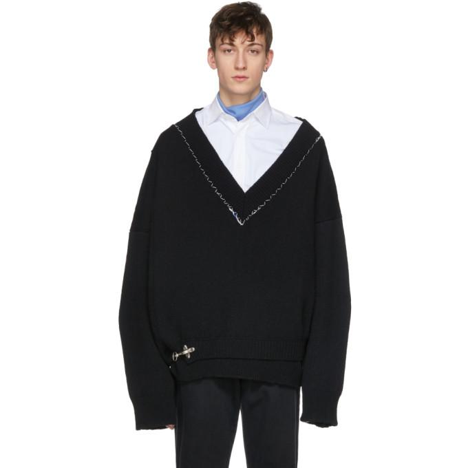 Image of Raf Simons Black Classic Oversized V-Neck Sweater