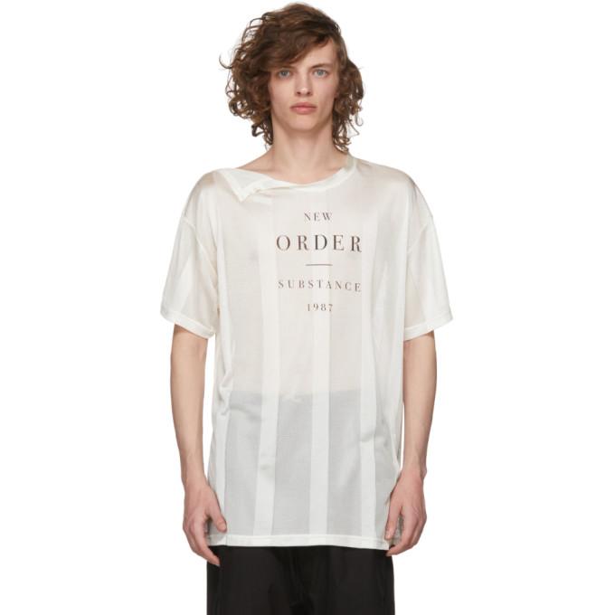 Image of Raf Simons Beige New Order 'Substance' Net T-Shirt