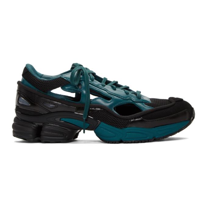 Image of Raf Simons Black & Blue adidas Originals Edition Ozweego Replicant Sneakers