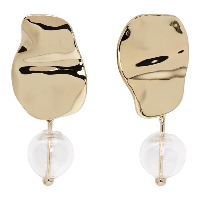 Proenza Schouler Gold & Clear Bead Earrings