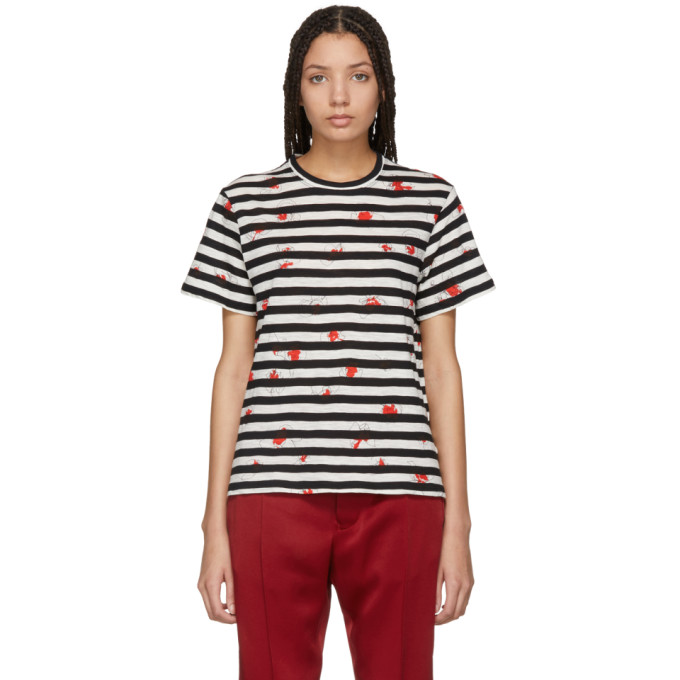 Image of Proenza Schouler Black & Off-White Striped Tissue T-Shirt