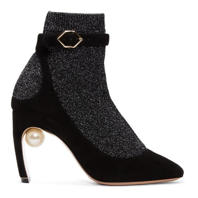 Image of Nicholas Kirkwood Black & Gunmetal Lola Pearl Sock Pump Boots