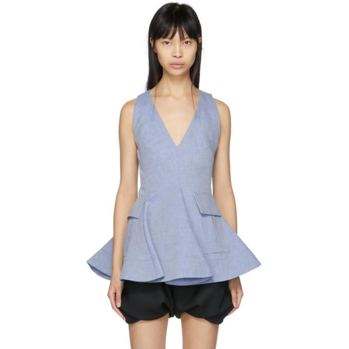 Carven Indigo Twill Short Dress