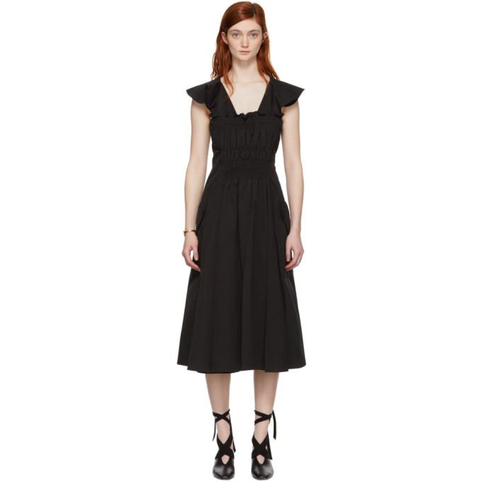 Carven Black Gathered Dress