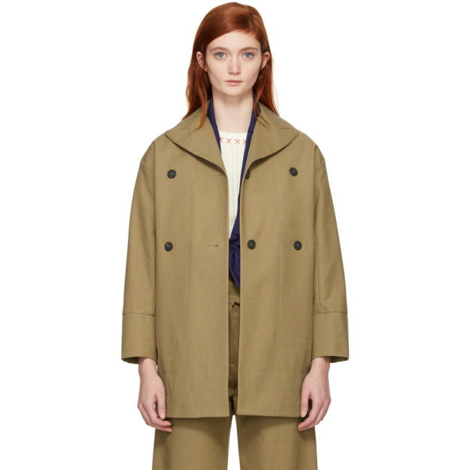 Image of Carven Beige Cotton Coat