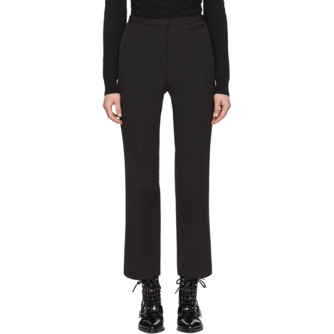 Image of Carven Black Crepe Crop Flare Trousers