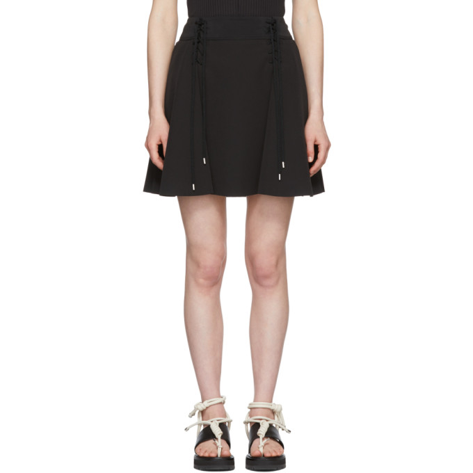 Image of Carven Black Crepe Lace-Up Flared Miniskirt