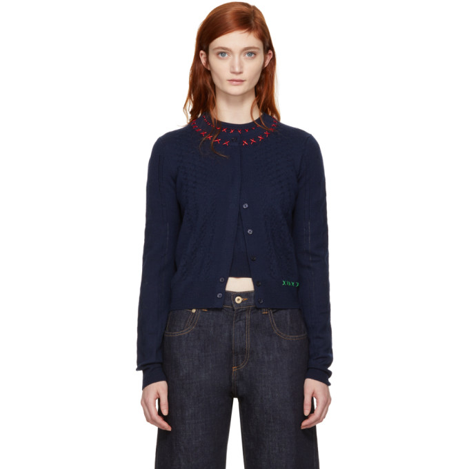 Carven Navy Embroidered Cardigan