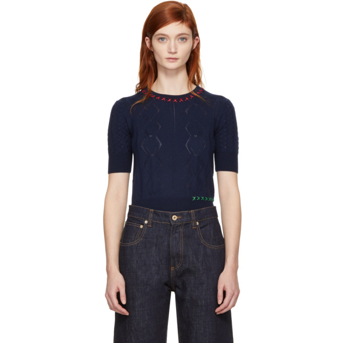 Carven Navy Embroidered Sweater