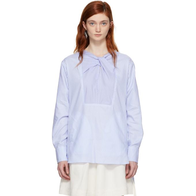 Carven Blue & White Striped Blouse