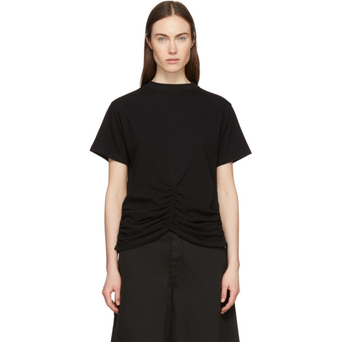 Image of Carven Black Lace-Up Ruched Detail T-Shirt