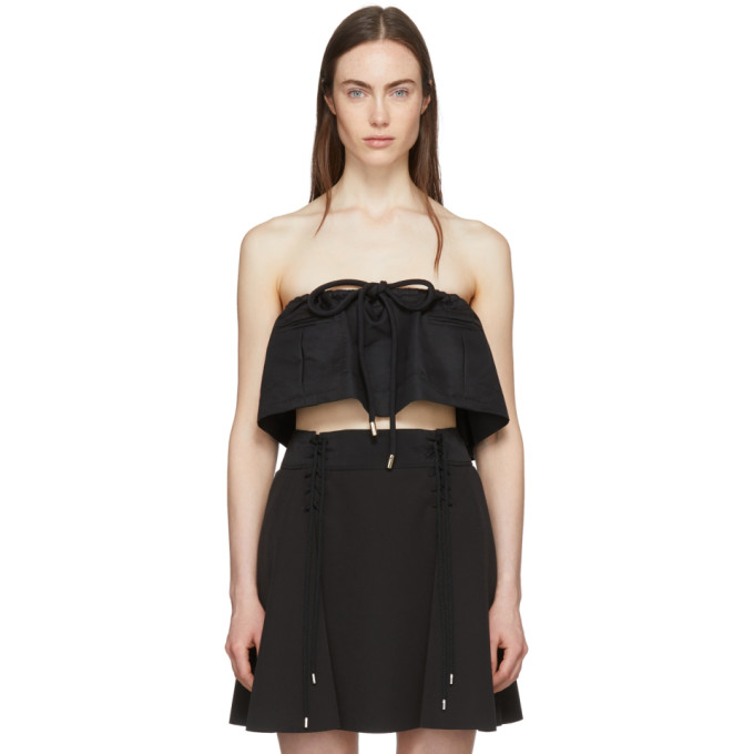 Image of Carven Black Strapless Chintz Ottoman Cropped Top