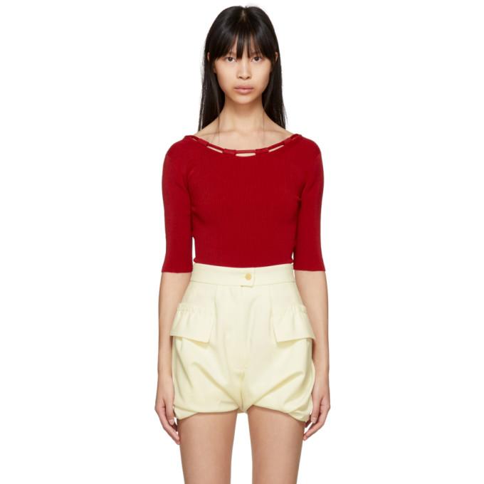Carven Red Basic Knit Bodysuit