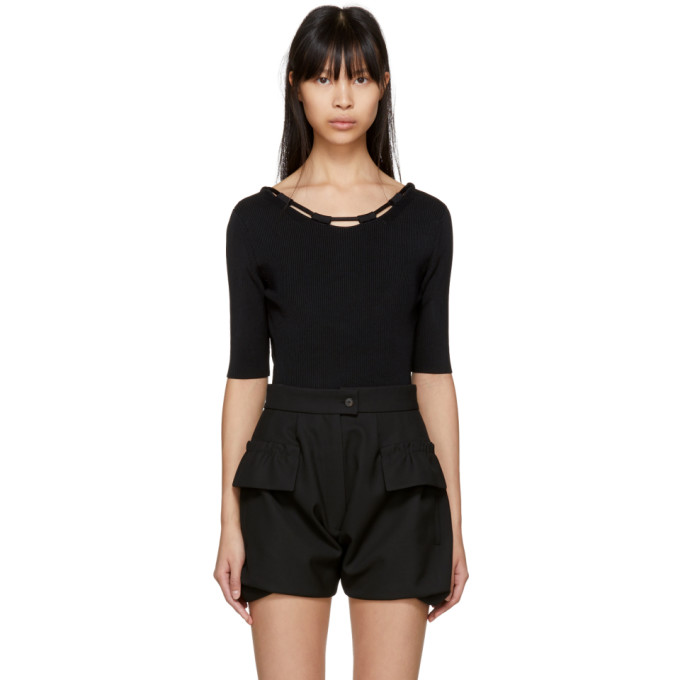 Image of Carven Black Basic Knit Bodysuit