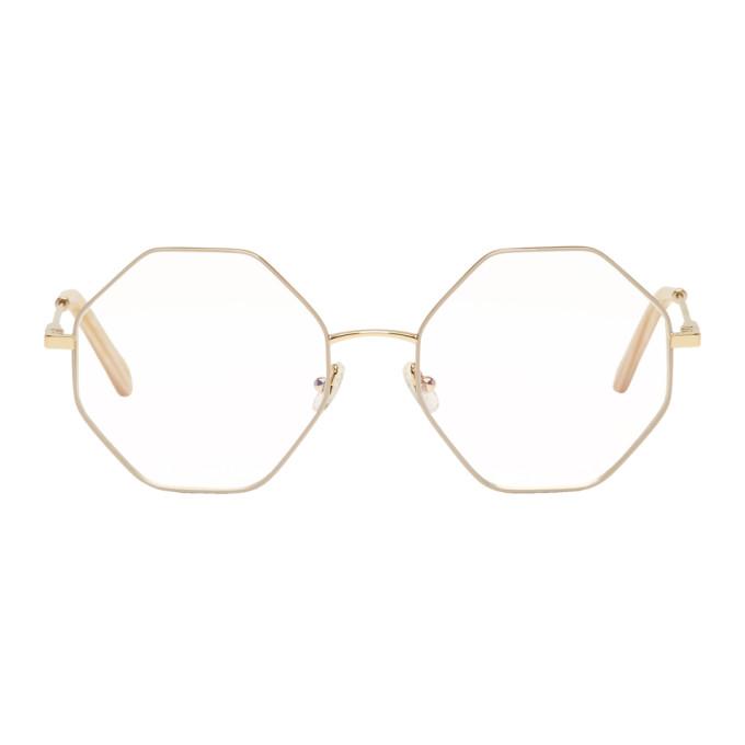Chloé Gold & Beige Hexagon Glasses