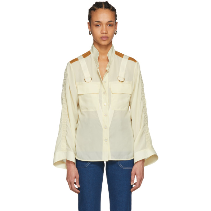 Image of Chloé Beige Patch Pocket D-Ring Shirt
